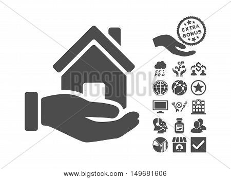 Home Offer pictograph with bonus pictograph collection. Vector illustration style is flat iconic symbols, gray color, white background.