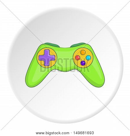 Game joystick icon in cartoon style on white circle background. Play symbol vector illustration