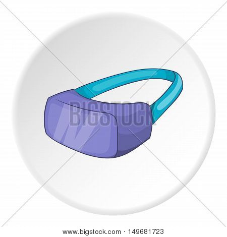 Virtual reality glasses for movie icon in cartoon style on white circle background. Gadget symbol vector illustration