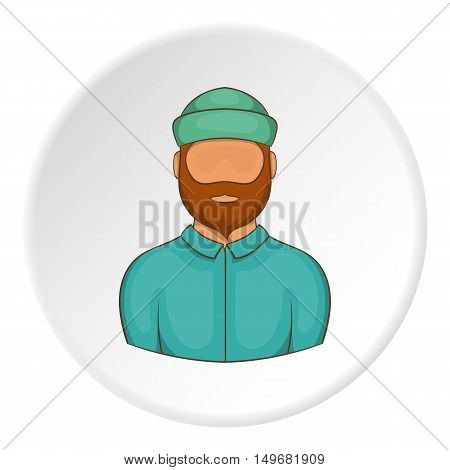 Lumberjack icon in cartoon style on white circle background. Employee symbol vector illustration
