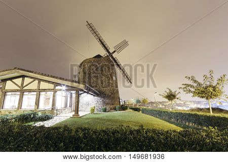 Aixerrota Windmill In Getxo, Basque Country, Spain.