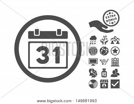 Last Month Day pictograph with bonus pictures. Vector illustration style is flat iconic symbols gray color white background.