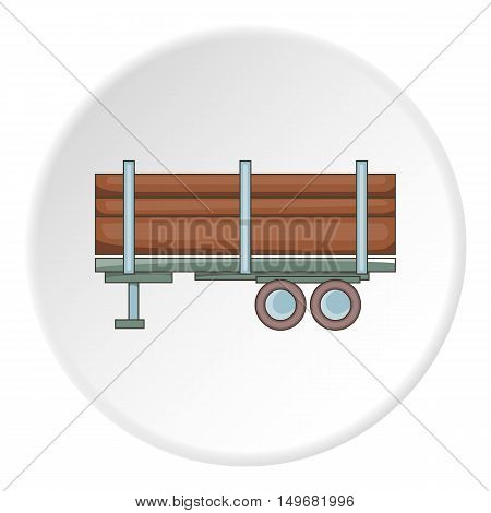 Logging truck with logs icon in cartoon style on white circle background. Felling symbol vector illustration