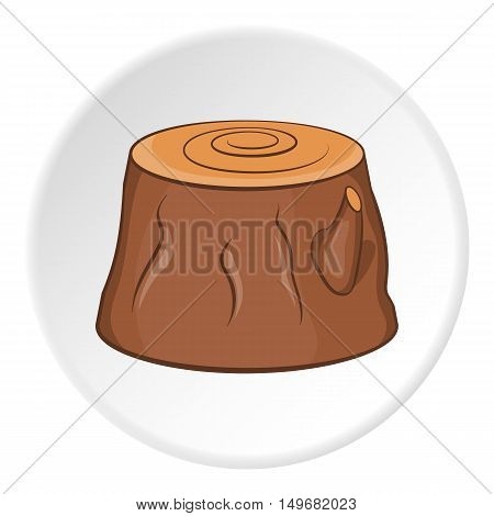 Stump icon in cartoon style on white circle background. Tree symbol vector illustration