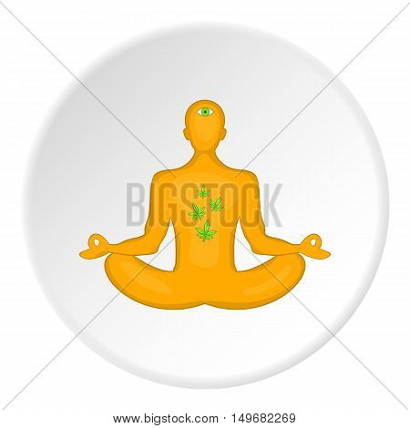 Man in lotus position had smoked marijuana icon in cartoon style on white circle background. Drug symbol vector illustration