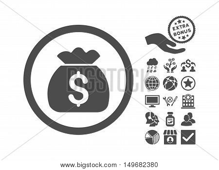 Money Bag pictograph with bonus elements. Vector illustration style is flat iconic symbols gray color white background.