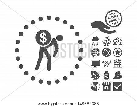 Money Courier icon with bonus pictogram. Vector illustration style is flat iconic symbols gray color white background.