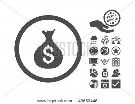 Money Sack pictograph with bonus icon set. Vector illustration style is flat iconic symbols, gray color, white background.