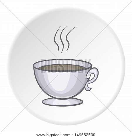 Cup of tea icon in cartoon style on white circle background. Drink symbol vector illustration