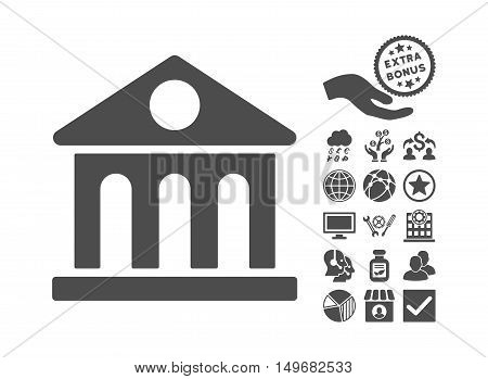 Museum Building pictograph with bonus design elements. Vector illustration style is flat iconic symbols, gray color, white background.