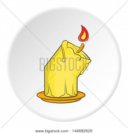 Melting candle icon in cartoon style on white circle background. Light symbol vector illustration