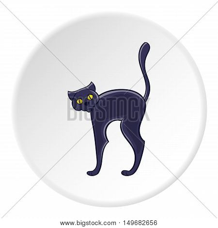 Black cat icon in cartoon style on white circle background. Animal symbol vector illustration