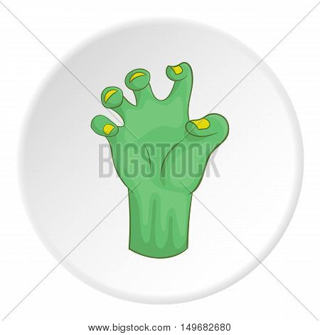 Zombie hand icon in cartoon style on white circle background. Dead symbol vector illustration