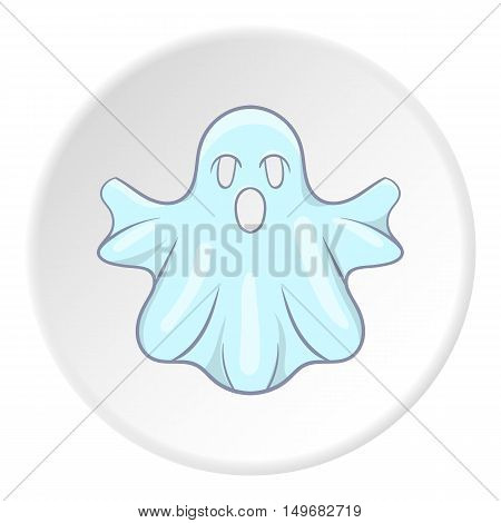 Ghost icon in cartoon style on white circle background. Entertainment symbol vector illustration