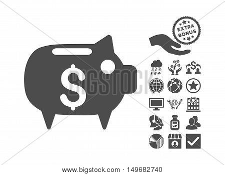 Piggy Bank icon with bonus images. Vector illustration style is flat iconic symbols gray color white background.