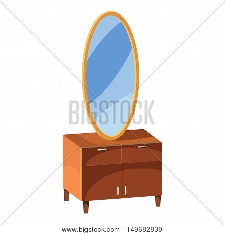 Chest of drawers with mirror icon in cartoon style isolated on white background. Furniture symbol vector illustration