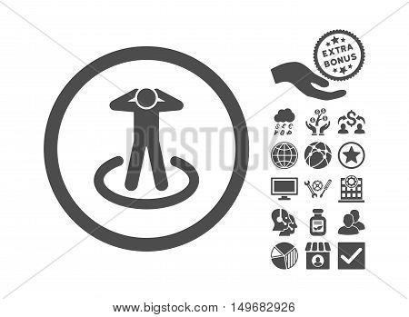 Prisoner pictograph with bonus icon set. Vector illustration style is flat iconic symbols, gray color, white background.