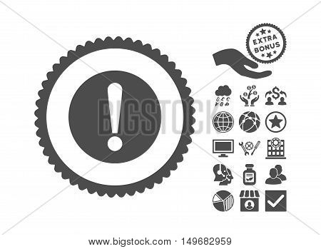 Problem pictograph with bonus elements. Vector illustration style is flat iconic symbols, gray color, white background.