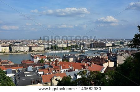 Budapest city center panorama with the famous Saint Stephen Basilica Chain Bridge and River Danube
