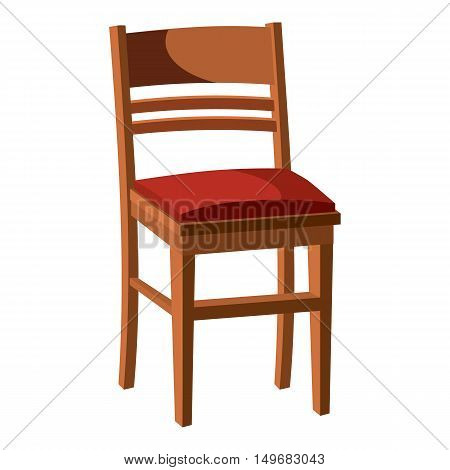 Wooden chair icon in cartoon style isolated on white background. Furniture symbol vector illustration