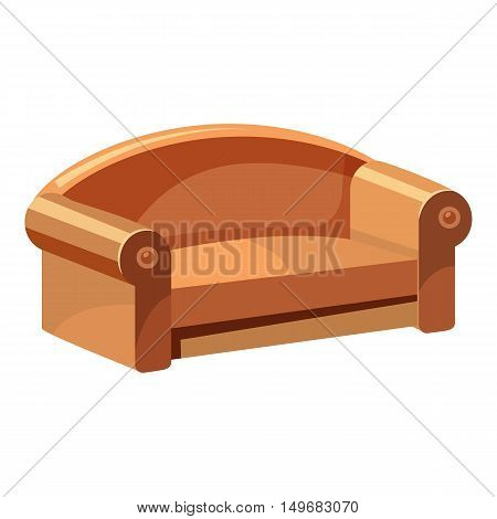 Soft sofa for living room icon in cartoon style isolated on white background. Home and interior symbol vector illustration