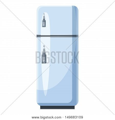 White refrigerator with separate freezer icon in cartoon style isolated on white background. Food storage symbol vector illustration