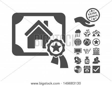 Realty Certification pictograph with bonus pictogram. Vector illustration style is flat iconic symbols gray color white background.