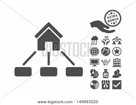 Realty Links icon with bonus elements. Vector illustration style is flat iconic symbols gray color white background.