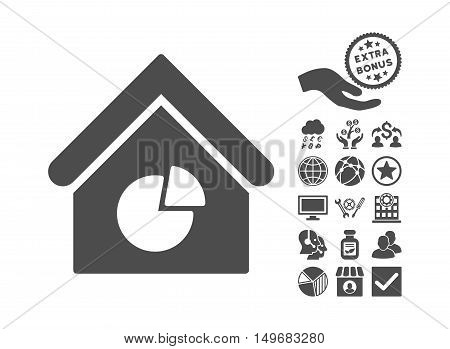Realty Pie Chart icon with bonus design elements. Vector illustration style is flat iconic symbols gray color white background.