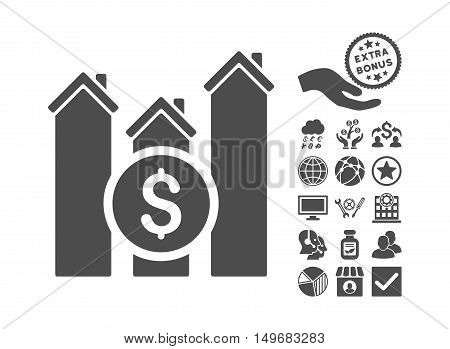 Realty Price Charts icon with bonus design elements. Vector illustration style is flat iconic symbols gray color white background.