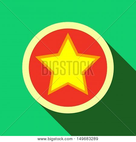 Star in circle icon in flat style with long shadow. Figure symbol vector illustration