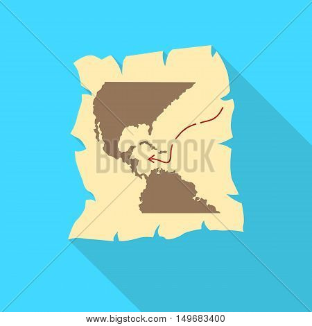 Map of discovery of America icon in flat style with long shadow. Territory symbol vector illustration