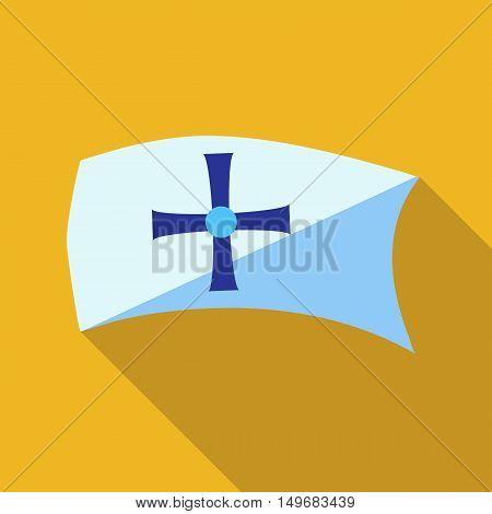 Flag with sign of Columbus icon in flat style with long shadow. Marking symbol vector illustration