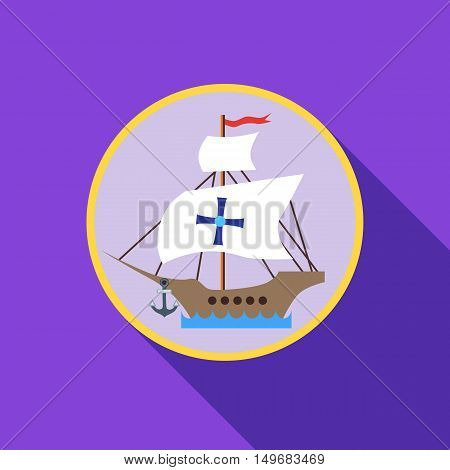 Ship with flag of Columbus icon in flat style with long shadow. Maritime transport symbol vector illustration