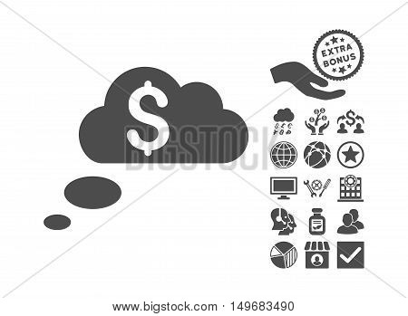 Richness Dream Clouds icon with bonus pictures. Vector illustration style is flat iconic symbols gray color white background.