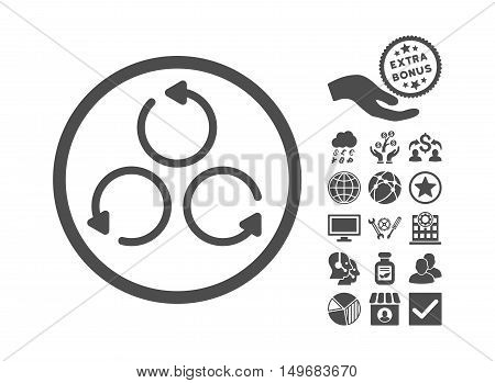 Rotation pictograph with bonus pictograph collection. Vector illustration style is flat iconic symbols gray color white background.