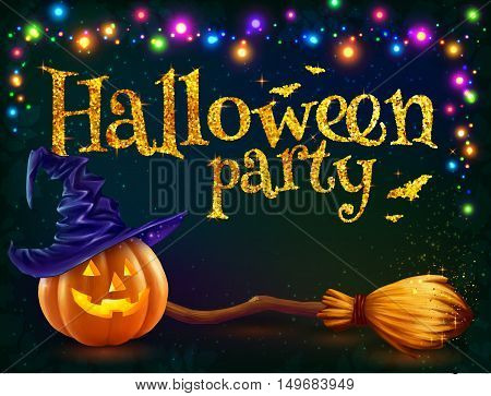 Halloween pumpkin and witchs broom on dark background with colorful lamps garland, vector Halloween party flyer template