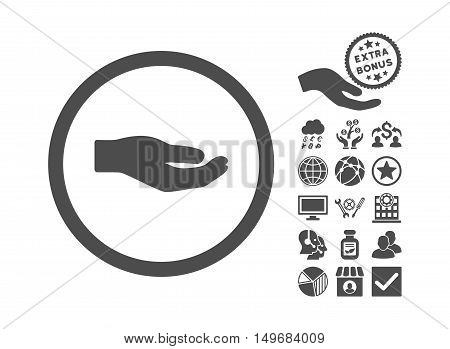 Share Hand pictograph with bonus pictures. Vector illustration style is flat iconic symbols, gray color, white background.