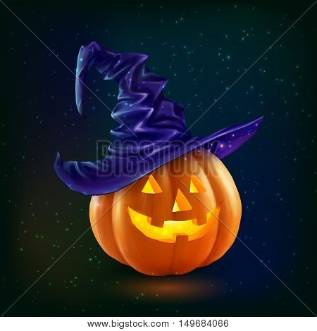 Realistic vector happy Halloween pumpkin in violet witchs hat on dark background