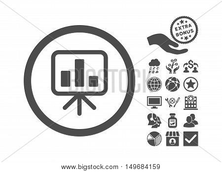 Slideshow Screen pictograph with bonus images. Vector illustration style is flat iconic symbols, gray color, white background.