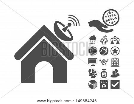 Space Antenna Building pictograph with bonus pictograph collection. Vector illustration style is flat iconic symbols, gray color, white background.