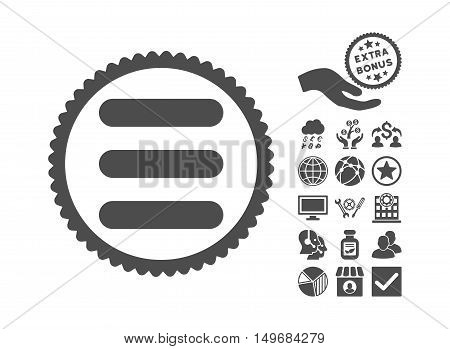 Stack pictograph with bonus clip art. Vector illustration style is flat iconic symbols, gray color, white background.
