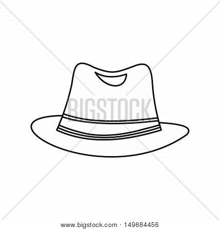 Men hat icon in outline style isolated on white background vector illustration