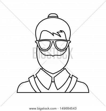 Bearded hipster face icon in outline style isolated on white background vector illustration