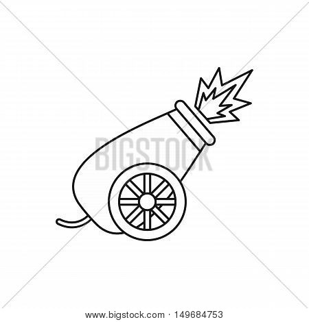 Circus cannon shooting icon in outline style isolated on white background vector illustration