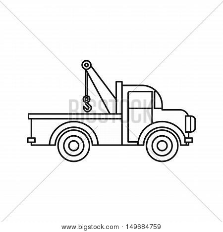 Car towing truck icon in outline style isolated on white background vector illustration