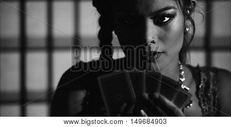 Female Poker Player. Black And White.