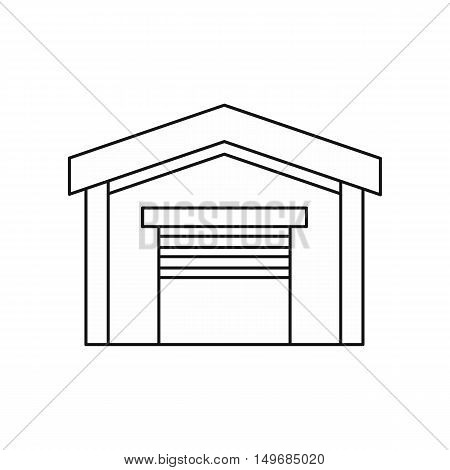 Car garage icon in outline style isolated on white background vector illustration