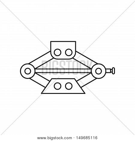 Car jack service equipment icon in outline style isolated on white background vector illustration