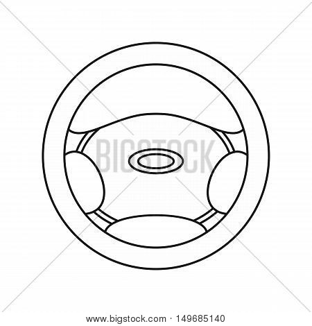 Steering wheel icon in outline style isolated on white background vector illustration